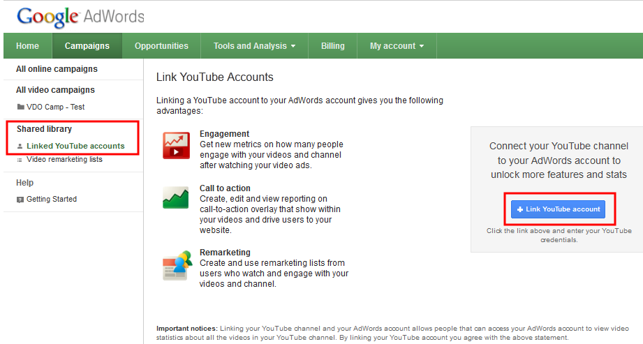 How to Link Youtube Accounts with Adwords