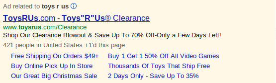 PPC Ad with Sitelinks