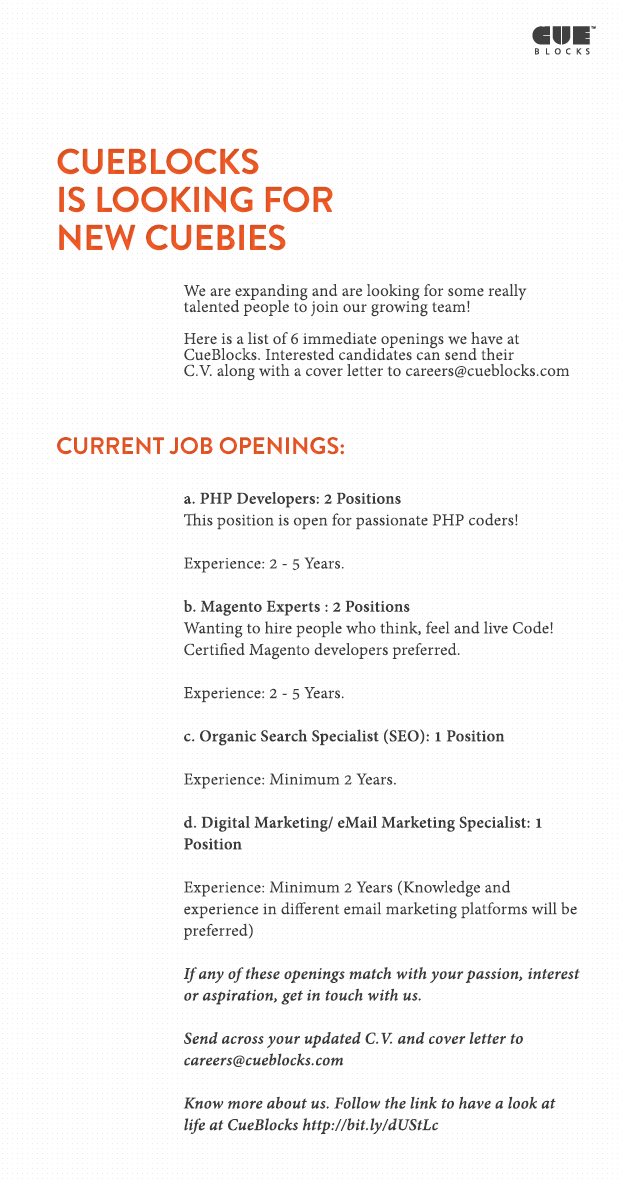 CueBlocks is Hiring