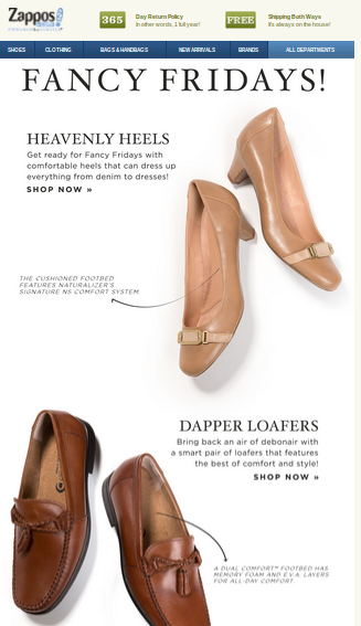 Zappos knows exactly how to go about playing with images & fonts!