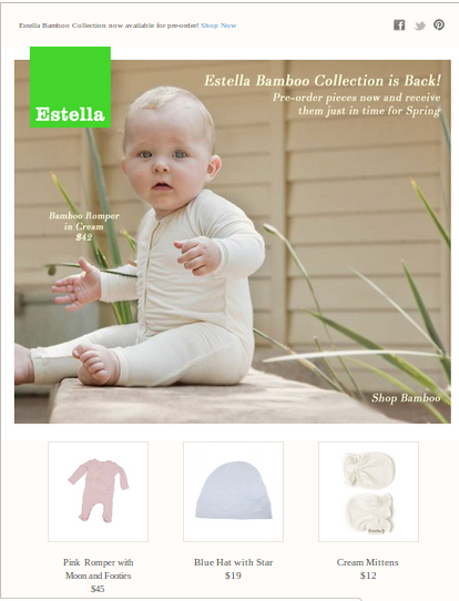 Estella cares enough to inform their customers about a collection being back in stock and being open for pre-ordering.
