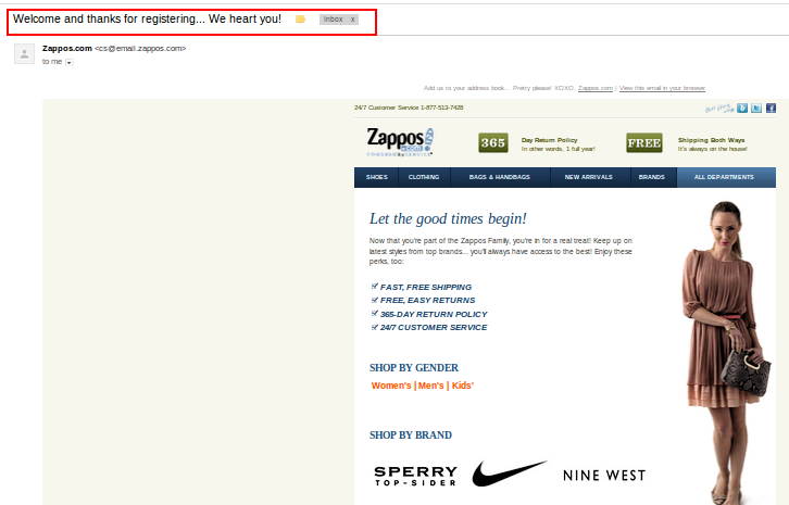 Zappos adds so much warmth to the message that it is hard to believe it's auto-generated!