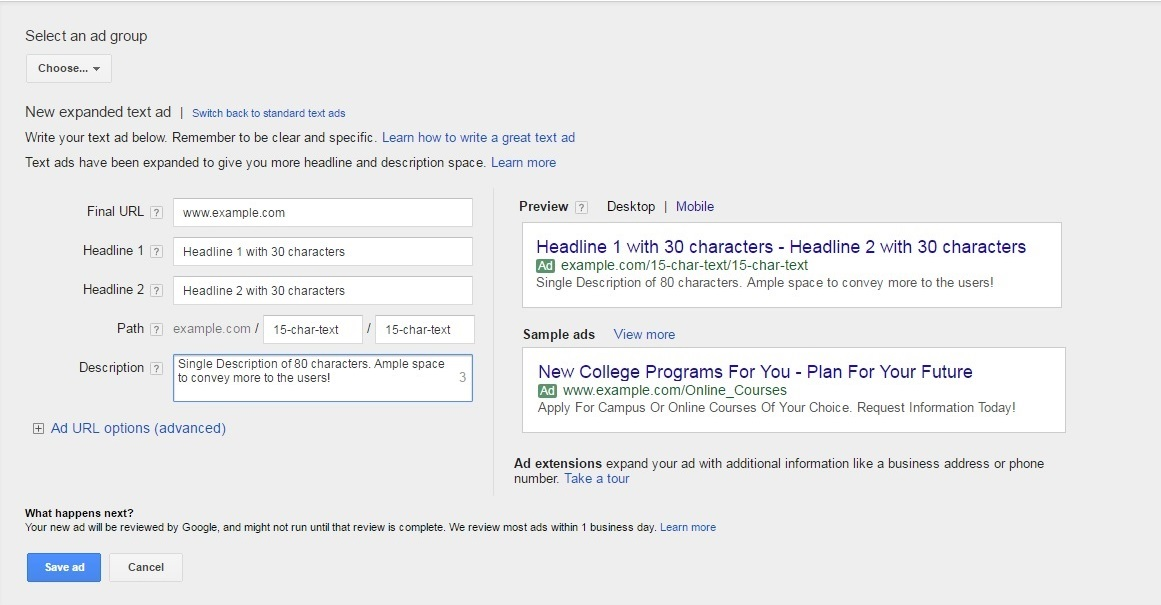 Creating an Expanded Ad in AdWords Online Interface