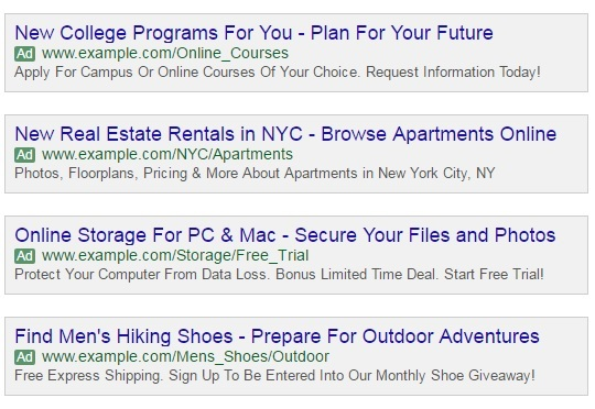 Examples of Expanded Ads Image Source: Google