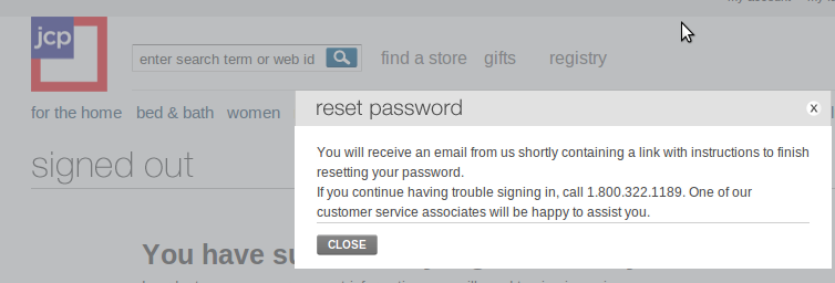 Password Reset Mesage - JCPenny