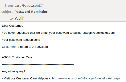 Password Reminder Email - Asos Example