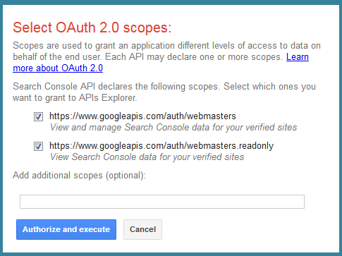 OAuth 2.0 Confirmation - Search Console API